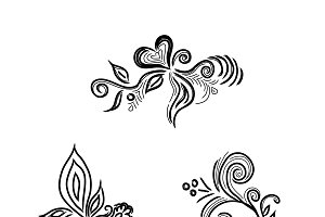 flowers, sketch, decor, vector