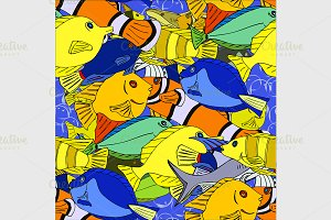 Seamless pattern Tropical fish