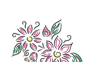 flowers, sketch, vector