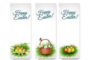 Three Happy Easter Banners.