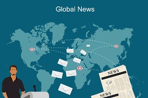 global news, communication, vector