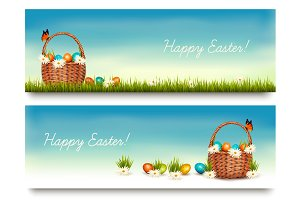 Two Happy Easter Banners. Vector.
