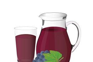 grape juice, jug, vector