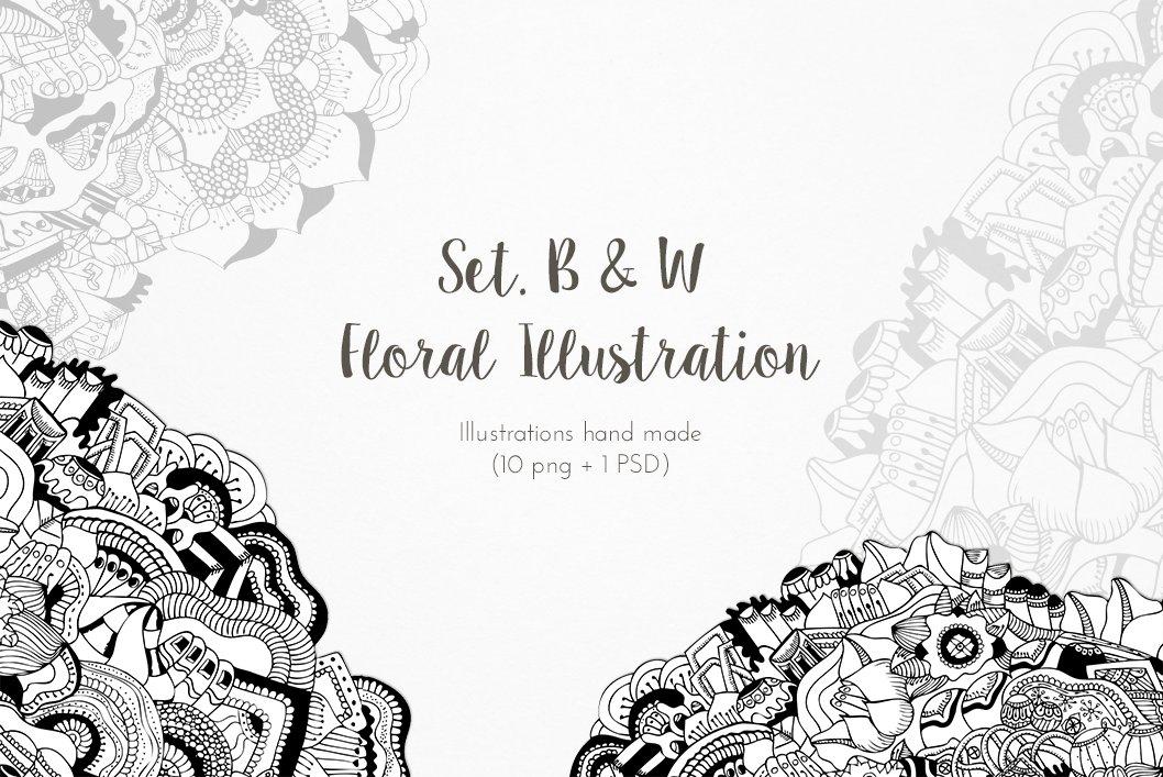 Set. B&W Floral Illustration x 10 ~ Illustrations