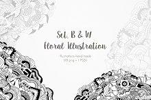 Set. B&W Floral Illustration x 10