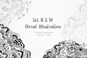Set. B&W Floral Illustration x 10