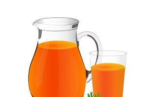 carrots, juice, glass, jug