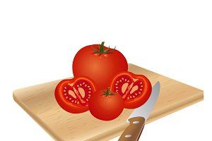 tomato, knife, vector