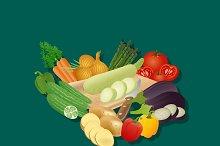 vegetables, set, vector