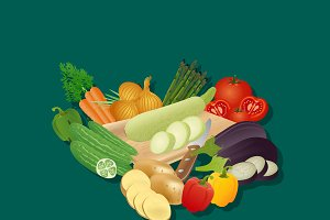 vegetables, set, vector