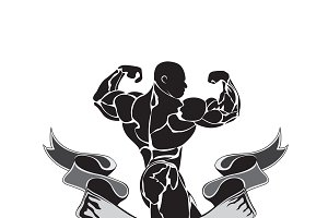 bodybuilding, powerlifting, vector