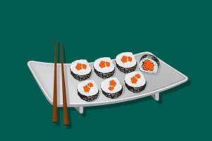 sushi, vector illustration
