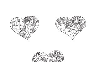 hearts, sketch, icons
