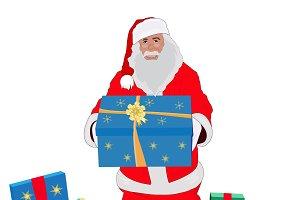 Santa Claus, gift, vector
