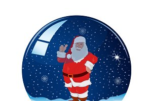 snow ball, Santa claus, vector