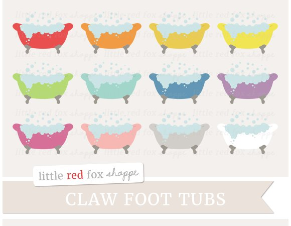 Claw Foot Tub Clipart Illustrations Creative Market