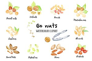 Watercolor Clipart Go Nuts