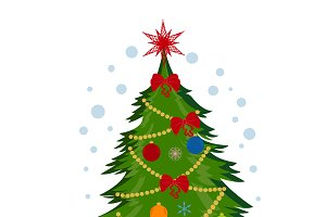 Christmas tree, vector illustration