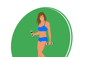 fit woman exercising, vector