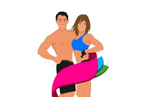 sport man and woman, fitness