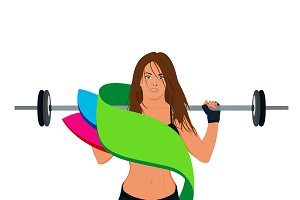 emblem, fitness girl, vector