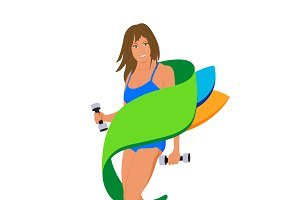 fitness girl, sport, vector