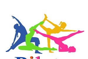 fitness, pilates, yoga, vector