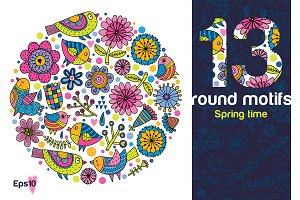 13 round motifs. Spring time.