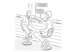Men sit in bar at a bar counter