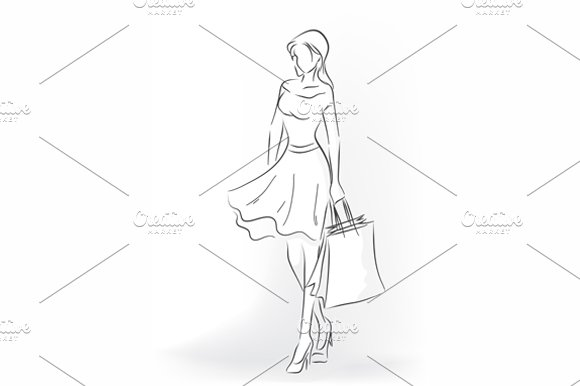 Standing woman with shopping bag