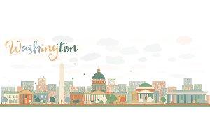 Abstract Washington DC City Skyline.