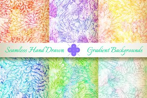 6 Seamless Gradient Florals. Set#4