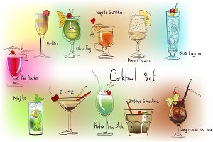 Vector cocktail set