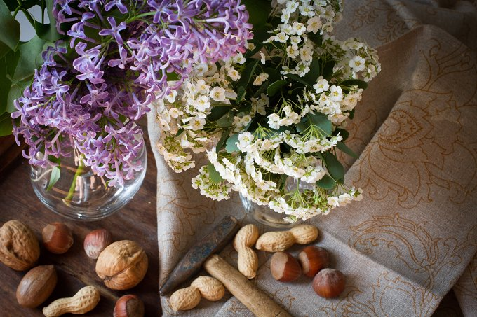 nuts with a hammer on the background of the fabric. with white flowers - Food & Drink