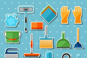 Cleaning sticker icons set