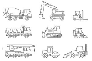 Construction machines thin icons