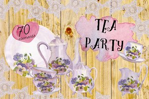Big watercolor Tea party set