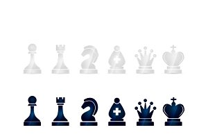 Glossy black and white chess icons