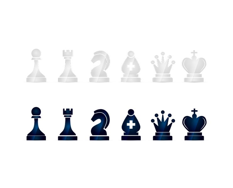 Glossy Black And White Chess Icons Icons Creative Market