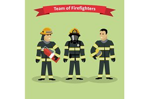 Firefighters Team People Group