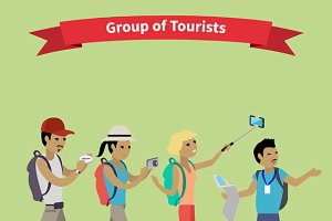 Tourists People Group Flat Style