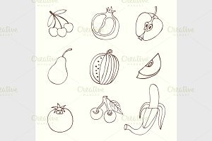 Sketches of fruit