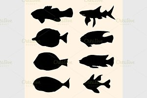 fish set. Icons.