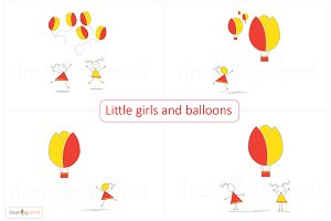 Little girls and air balloons