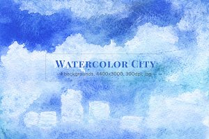 Watercolor City Backgrounds