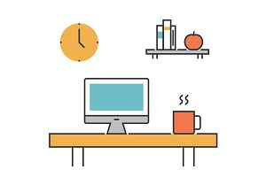 Workplace concept line icons flat