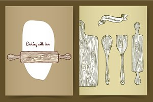 Posters with wooden kitchen utensil