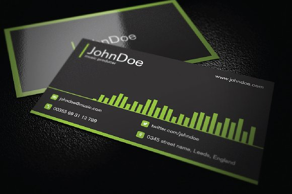 Music business card business card templates creative market reheart Gallery