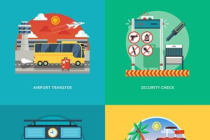 Set of travel and vacation concepts