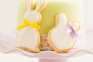 Easter bunny sugar cookies and cake
